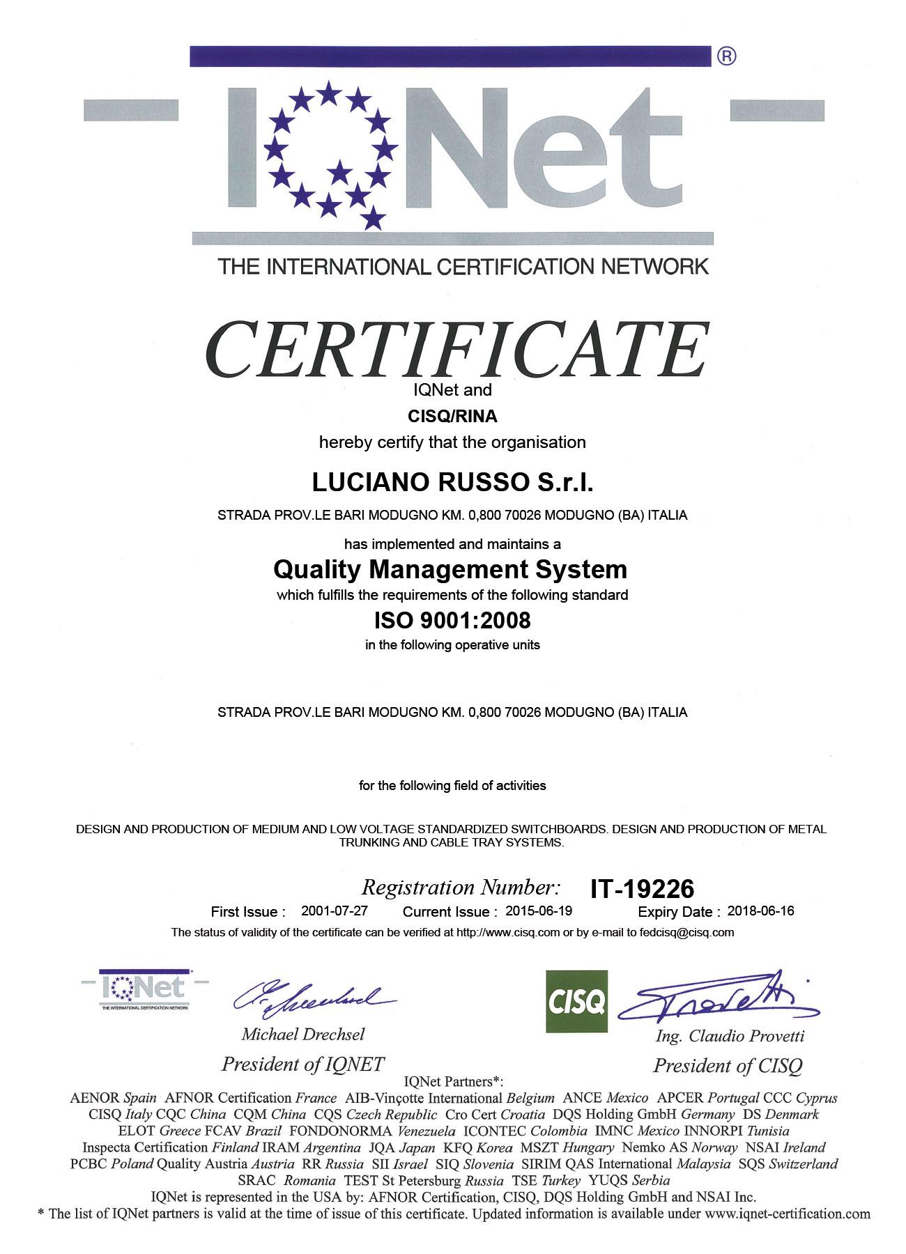 5 certificato IQNet aggiornato del 2015